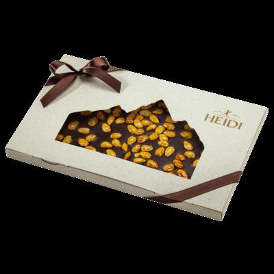 Produktabbildung_HEIDI Zartbitterschokolade mit Mandeln in Geschenkverpackung