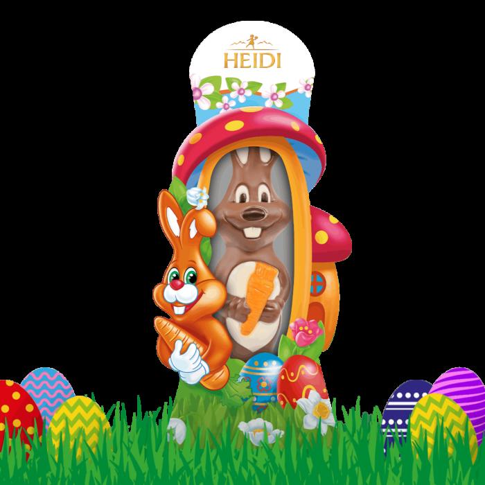 Produktabbildung_HEIDI Hase mit Karotte aus Milchschokolade groß