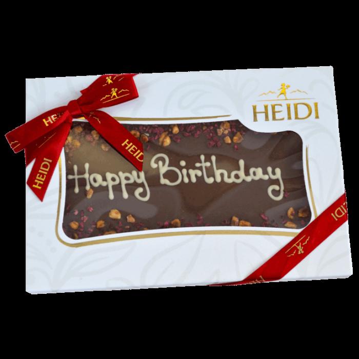 "HEIDI Tafel aus Milchschokolade ""happy birthday"""